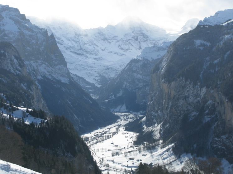 Valley of Lauterbrunnen on the journey up to the Jungfraujoch.