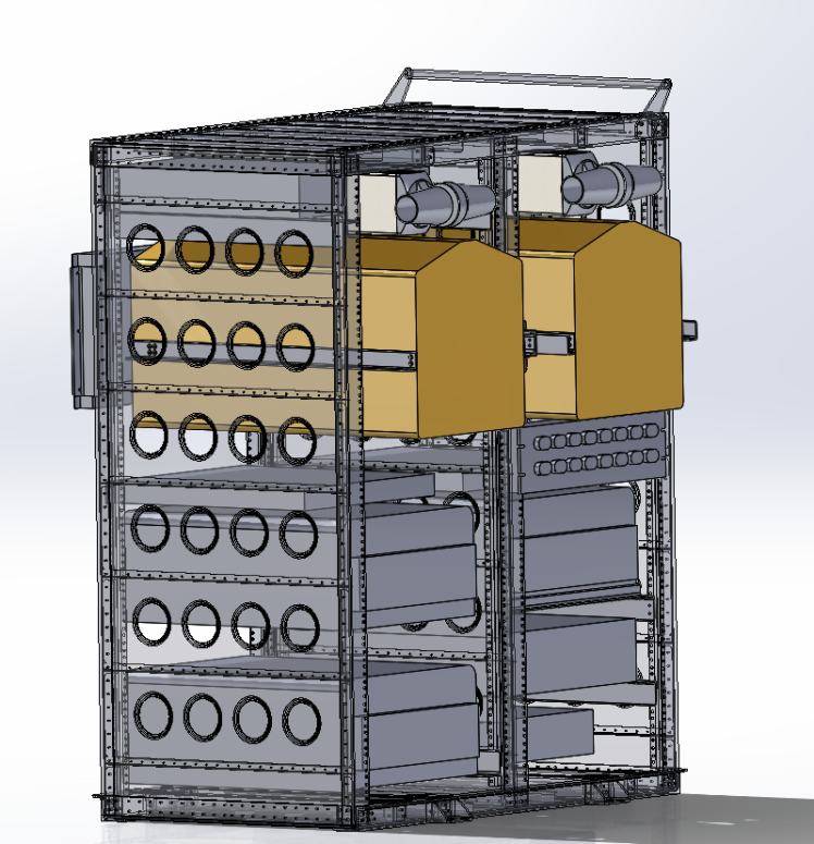 Frank, the engineer on our team, modeled the rack layout for us in Solidworks, this is one of his visualizations.