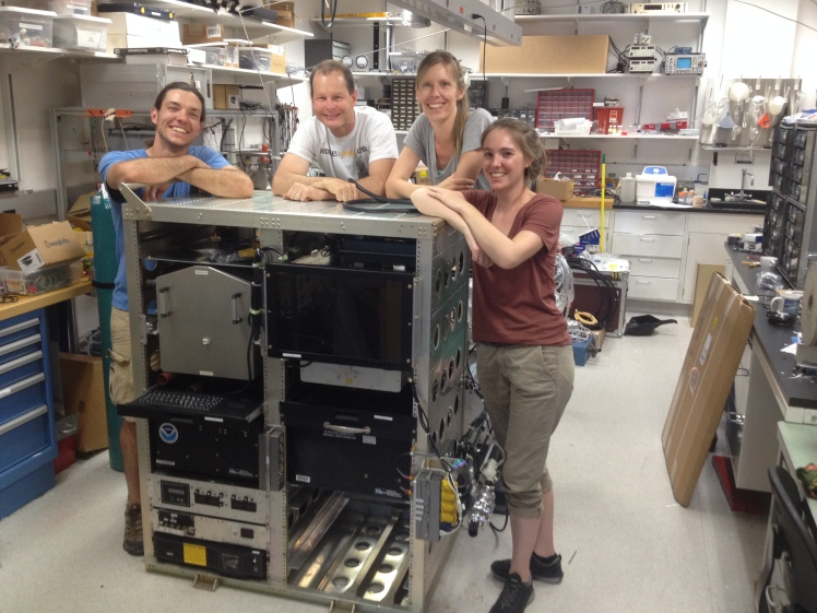 Left-to-right: Frank, the engineer, Charles, PI of our aerosol microphysical properties team, Agnieska, another post-doc working with the instruments, and me.