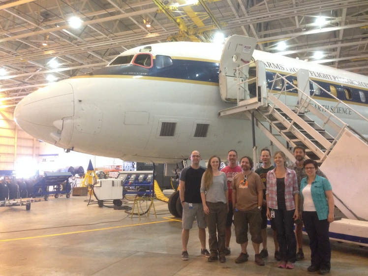 The aerosol team in front of the DC-8 back in the hangar at NASA Armstrong