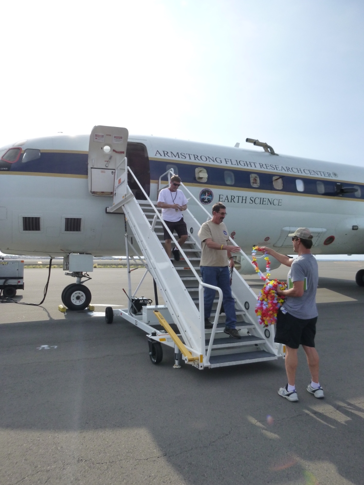 Leis handed out by Dave Jordan (NASA AIMES) as we land in Kona, Hawaii (credit: Karl Froyd)