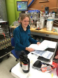 Caroline Womack working at the Fire Lab