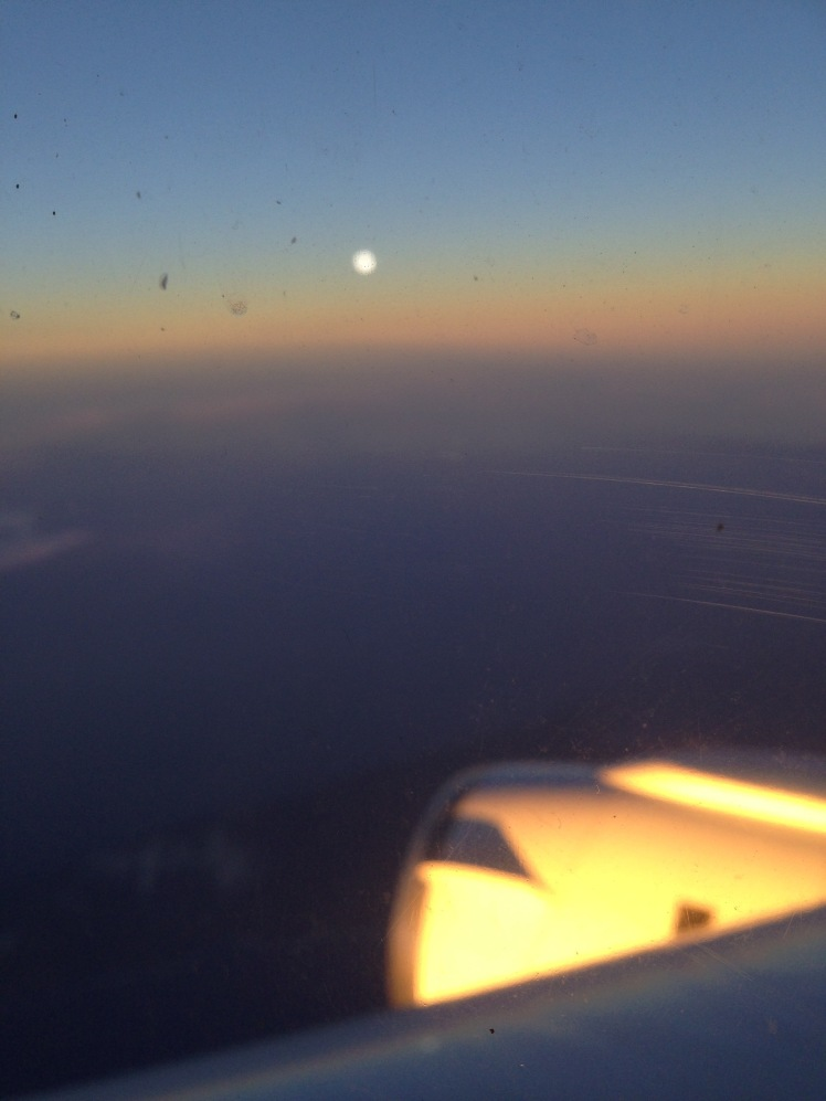 Sunset over the Pacific seen from the DC8 on test flight 1