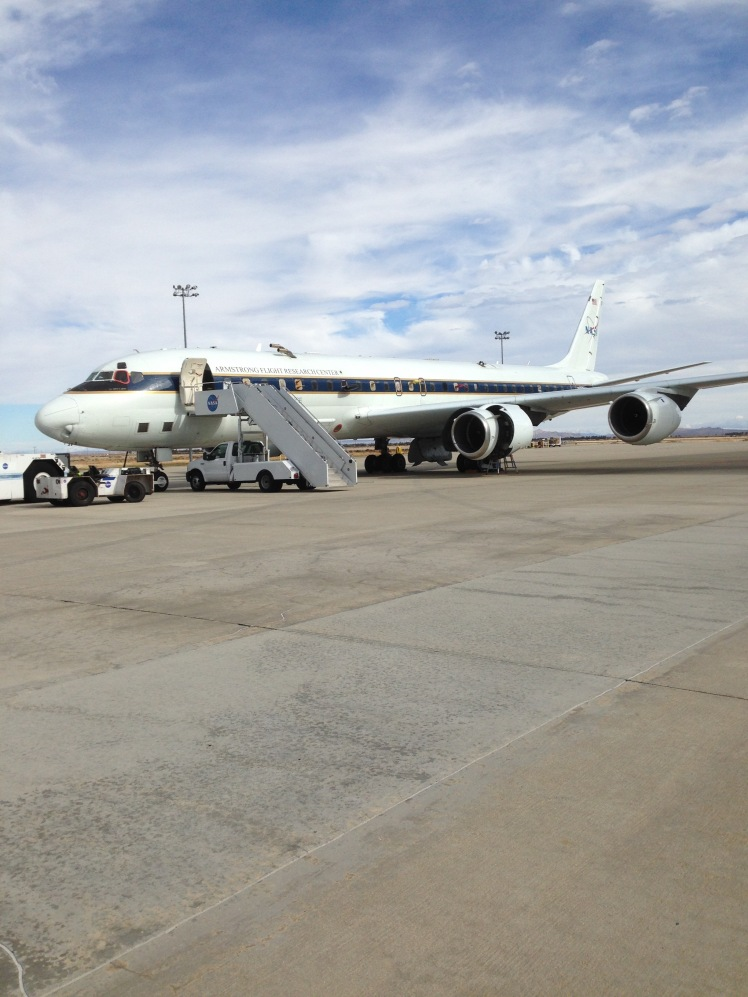 The DC8 on the ramp at NASA Armstrong being prepared for the second deployment of the ATom mission