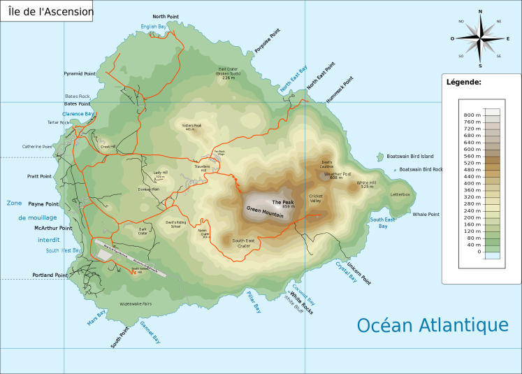 Map of Ascension Island By Ile_de_l'ascension.svg: Treehillderivative work: Treehill (fr) Treehill - Ile_de_l'ascension.svgMap for free, CC BY 3.0, https://commons.wikimedia.org/w/index.php?curid=11767299