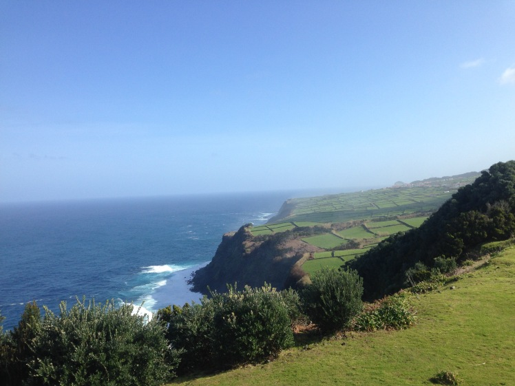 Fields and the ocean on Terceira, Azores (credit: Christina Williamson).